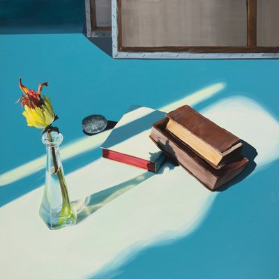 [A0985-0027] 꽃,병,책 그리고 돌