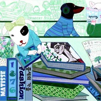 [A1035-0042] 책읽는 강아지(2)