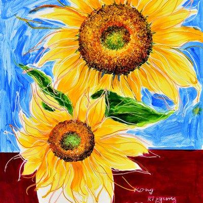 [A1050-0232] Dancing Sunflowers 8