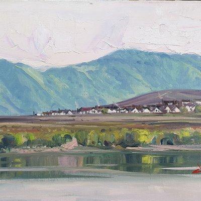 [A1101-0279] 압록강에서 본 초산-북한