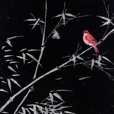 [A1138-0045] 대나무위 나비와 새