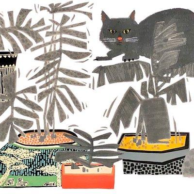 [A1141-0032] 야묘초유도 (夜猫草遊圖)