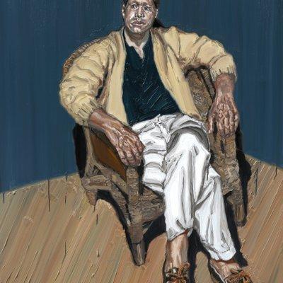 [A1149-0009] 끈 의자에 앉은 남자