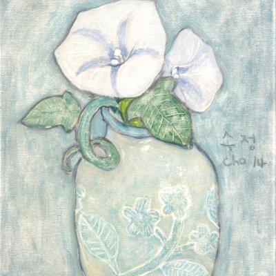 [A1173-0003] 꽃병 안의 흰 나팔꽃