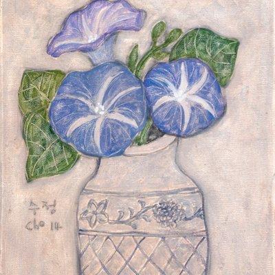[A1173-0004] 흰 꽃병의 나팔꽃