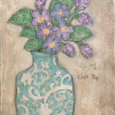 [A1173-0007] 푸른 꽃병의 물망초