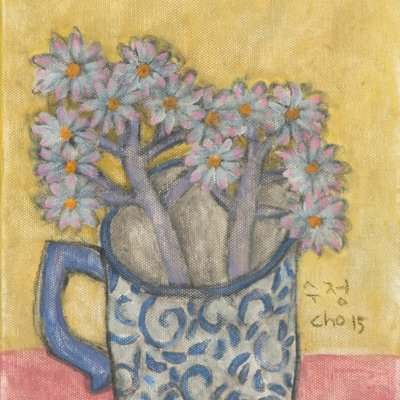 [A1173-0013] 컵안의 흰 들꽃