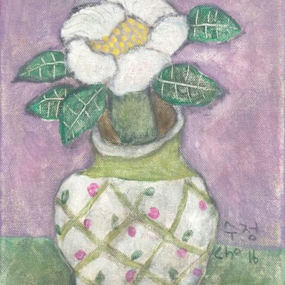[A1173-0018] 흰 꽃병의 해당화
