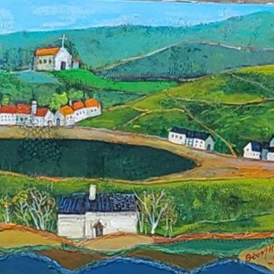 [A1263-0050] 교회와 집이 있는 풍경(20-1)