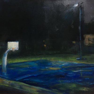 [A1275-0053] an outdoor basketball court at night